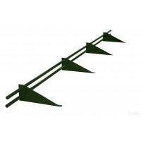 Снегозадержатель трубчатый круглый Русь D-25 мм 3 м RAL 6020 хромовый зеленый