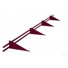 Снегозадержатель трубчатый круглый Русь D-25 мм 3 м RAL 3005 красный