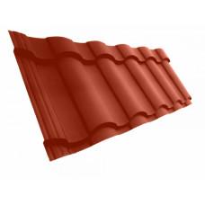 Металлочерепица Grand Line Kredo 0.5 мм Velur (RAL 3009 оксидно-красный) В наличии