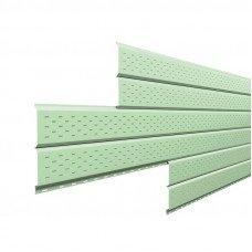 Софит металлический Металл Профиль Lбрус перфорированный Norman 0.5 мм RAL 6019 (бело-зеленый)