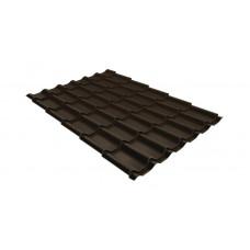 Металлочерепица Grand Line Classic 0.5 мм Quarzit Lite (RR 32 темно-коричневый)