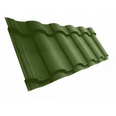 Металлочерепица Grand Line Kredo 0.5 мм Velur (RAL 6020 хромовый зеленый) В наличии