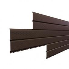 Софит металлический Металл Профиль Lбрус перфорированный Viking 0.45 мм RAL 8017 (шоколадно-коричневый)
