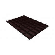 Металлочерепица Grand Line Classic 0.5 мм Quarzit Lite (RAL 8017 шоколадно-коричневый blesk)